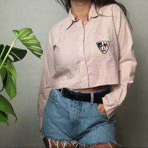 Mickey Mouse Oxford Button down Crop Pink White